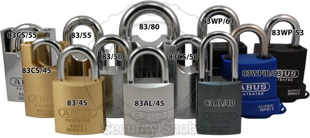 ABUS Padlock Family Size Comparison Front View