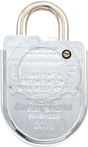 Sargent & Greenleaf 8077 High Security Combination Padlock Rear View