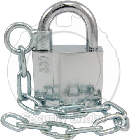 Abloy Padlock Mounting Chain Installed on PL330 Padlock
