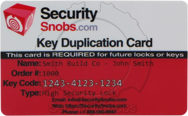 Sample Security Snobs Key Card