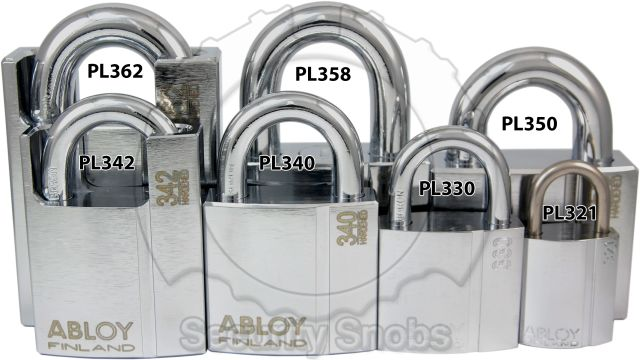 Abloy Padlock Family Front View Size Comparison