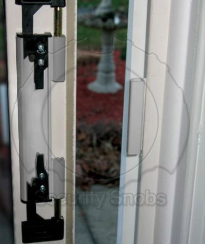DJA Sliding Door Security Latch Installed with Cover Plate Removed