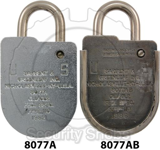 Used Sargent & Greenleaf 8077A / 8077AB Padlocks Back